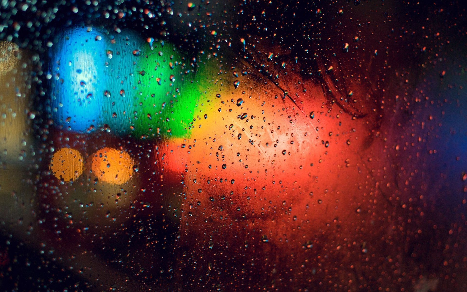 Colorful Lights Behind Rainy Window Photography Hd Wallpaper